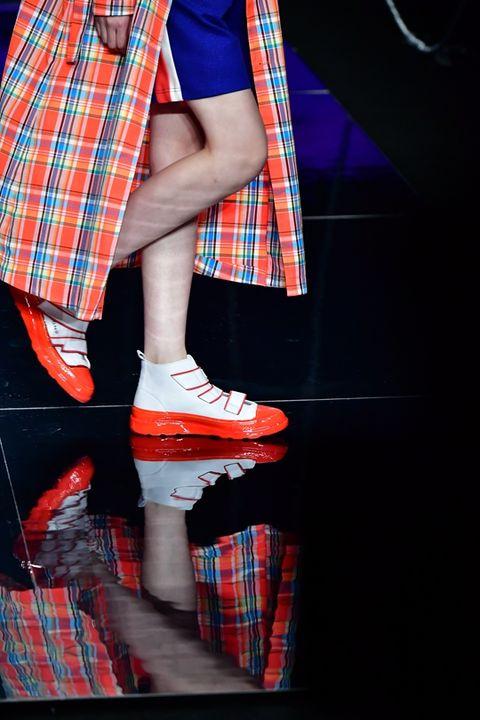 Plaid, Tartan, Pattern, Blue, Footwear, Textile, Human leg, Design, Leg, Fashion,