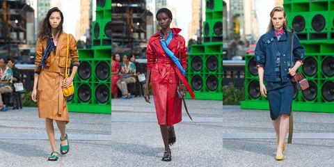 Street fashion, Clothing, Green, Fashion, Red, Footwear, Outerwear, Jacket, Dress, Shoe,