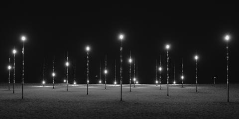 Black, Night, Street light, White, Darkness, Lighting, Light, Light fixture, Black-and-white, Monochrome,