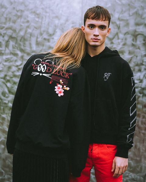 Clothing, Black, Red, Outerwear, Fashion, Street fashion, Sleeve, T-shirt, Jacket, Cool,