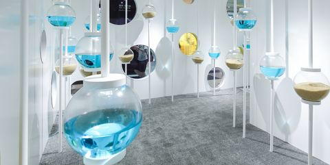 Turquoise, Product, Glass, Room, Wine glass, Design, Material property, Interior design, Stemware, Transparent material,