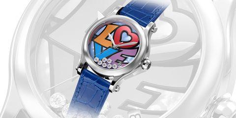 Analog watch, Watch, Watch accessory, Strap, Fashion accessory, Cartoon, Material property, Electric blue, Brand, Jewellery,