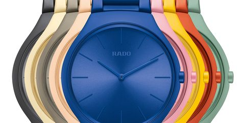 Analog watch, Watch, Watch accessory, Fashion accessory, Material property, Electric blue, Jewellery, Strap, Brand,