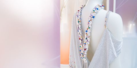 White, Shoulder, Skin, Fashion, Beauty, Yellow, Mannequin, Dress, Fashion design, Design,