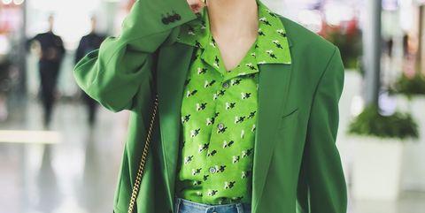 Clothing, Street fashion, Green, Photograph, Outerwear, Snapshot, Blazer, Coat, Fashion, Jacket,