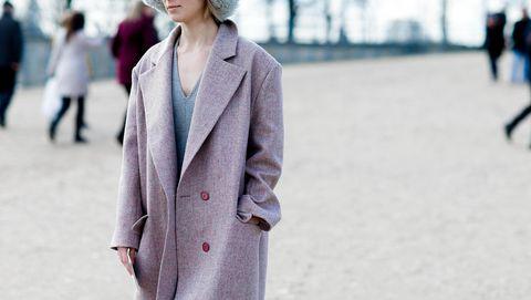 Clothing, Street fashion, White, Coat, Fashion, Overcoat, Outerwear, Pink, Snapshot, Trench coat,