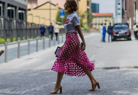 Street fashion, Clothing, Pink, Polka dot, Dress, Fashion, Pattern, Snapshot, Design, Waist,