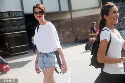Street fashion, Eyewear, White, Clothing, Fashion, Sunglasses, Shoulder, Snapshot, Shorts, Footwear,