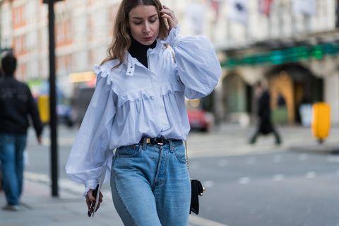 Denim, Jeans, Street fashion, White, Photograph, Clothing, Blue, Fashion, Shoulder, Snapshot,