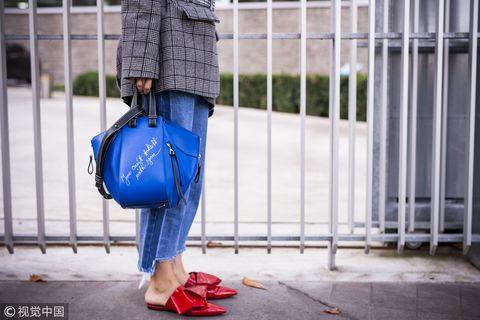 Blue, Jeans, Street fashion, Denim, Red, Yellow, Snapshot, Shoulder, Fashion, Electric blue,
