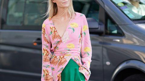 Street fashion, Clothing, Pink, Green, Fashion, Dress, Footwear, Automotive design, Outerwear, Vehicle,