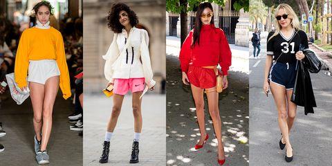 Clothing, Street fashion, Footwear, Fashion, Fashion model, Pink, Shorts, Shoe, Leg, Plimsoll shoe,
