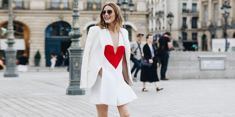 White, Street fashion, Clothing, Fashion, Photograph, Shoulder, Red, Fashion model, Outerwear, Beauty,