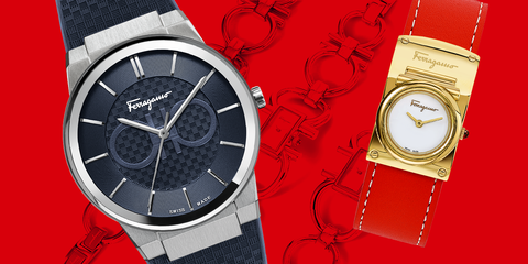Analog watch, Watch, Watch accessory, Red, Fashion accessory, Strap, Brand, Material property, Jewellery, Hardware accessory,