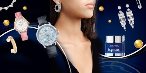 Blue, Watch, Beauty, Fashion accessory, Neck, Gadget, Electric blue, Brand, Perfume, Jewellery,